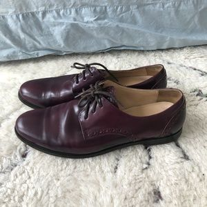 Cole Haan Dark Purple Plum Leather Lace-Up Oxford